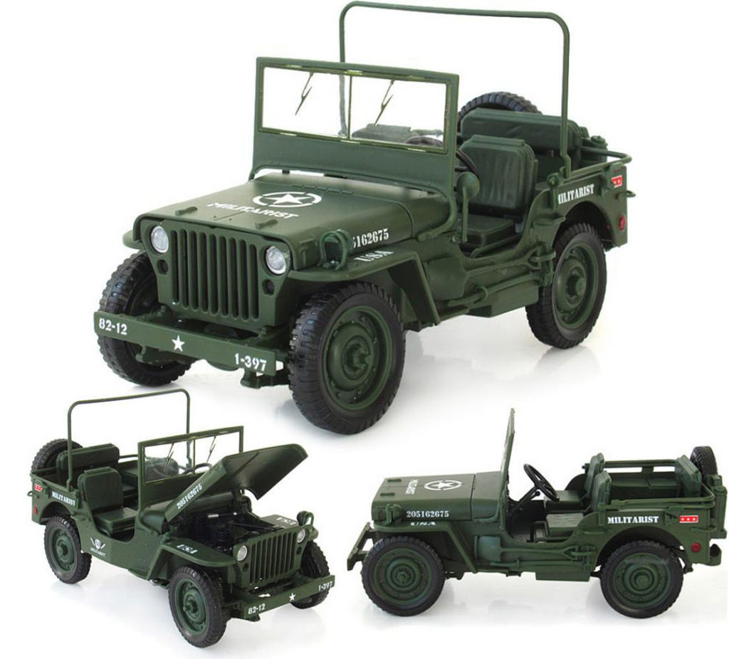 New WWII Military Jeep Willys Tactics 1:18 Alloy Diecast Model Cars Collections for sale