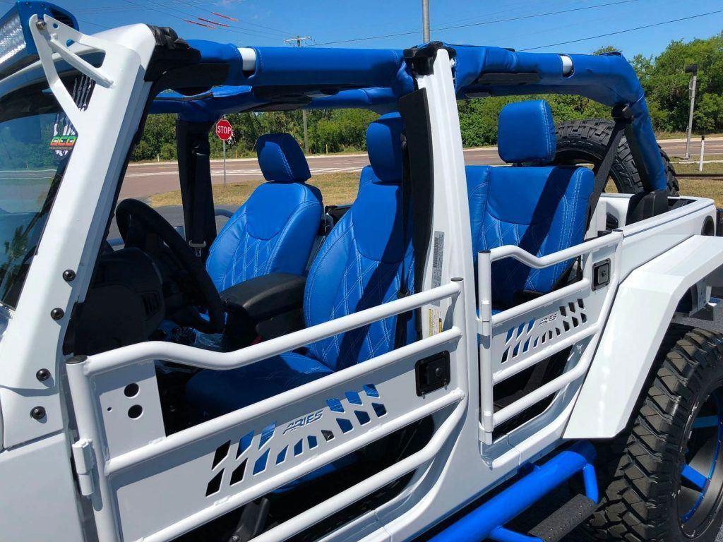 2018 Jeep Wrangler Custom White N' BLUE Lifted Leather HARDTOP